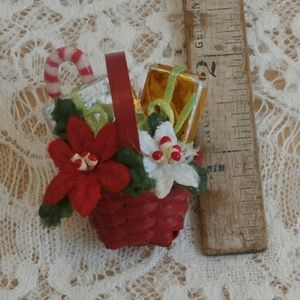 Vintage Christmas Basket Brooch Red Wicker Pin